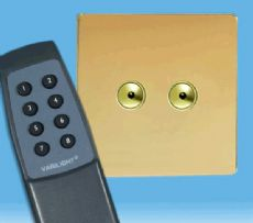 V-Pro IR, 2 Gang, 100 Watt Remote Control/Touch LED Dimmer, Screwless Polished Brass inc Remote